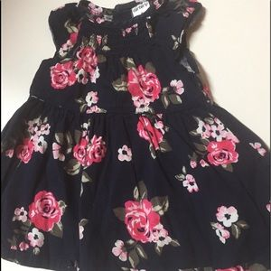 Carter Navy smocked dress,cap sleeves,pink floral